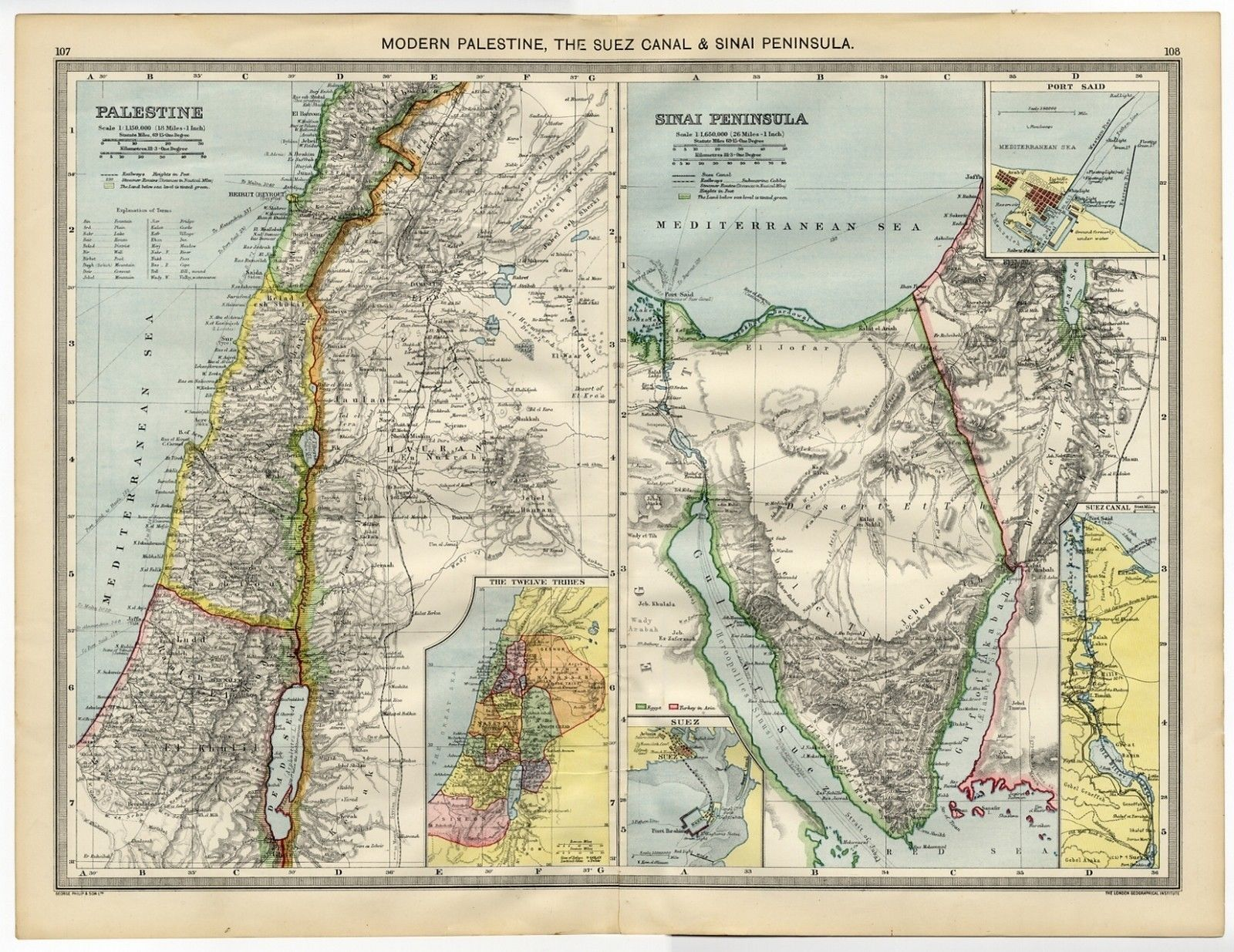 Antique Map PALESTINE Sinai Peninsula SUEZ CANAL Egypt SYRIA - Map of egypt and syria