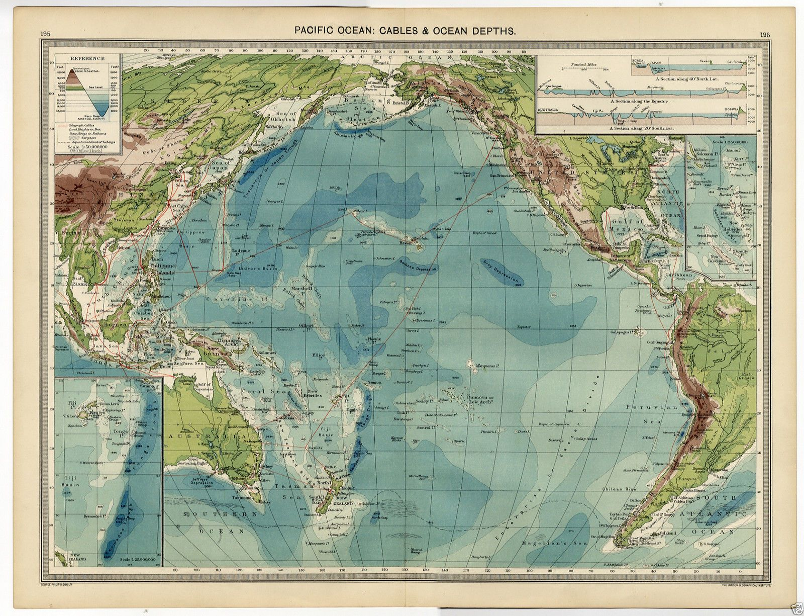 MAP PACIFIC OCEAN Cables DEPTH Troughs Trenches BELKNAP - Ocean depth map