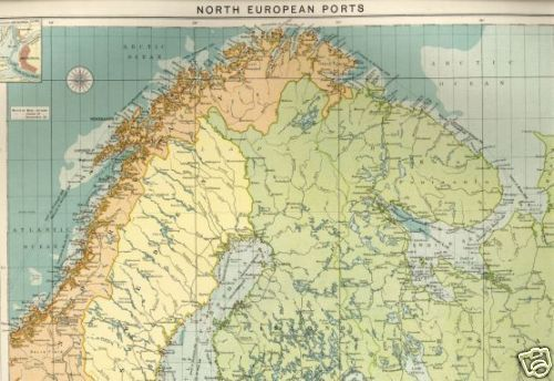 1914 MAP North Europe Ports MERCANTILE MARINE Norway SWEDEN – Map of North Europe
