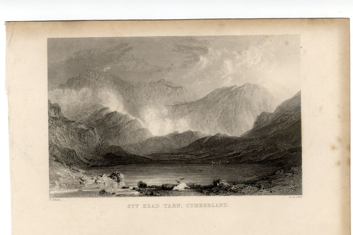 1835 Antique Print STYHEAD TARN SCAFELL Lake District CUMBRIA Cumberland England