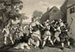 1850 Antique Print from Engraving WILLIAM HOGARTH Hudibras & Trulla English Civil War