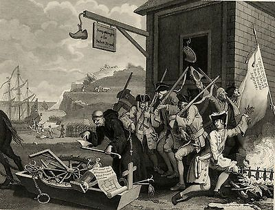 1850 Antique Print WILLIAM HOGARTH France - Invasion of England