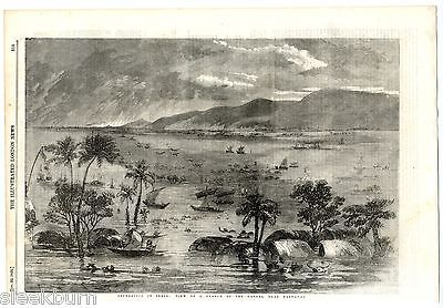 1856 Antique Print FLOODS GANGES Rajmahal JHARKHAND INDIA Victorian Engraving