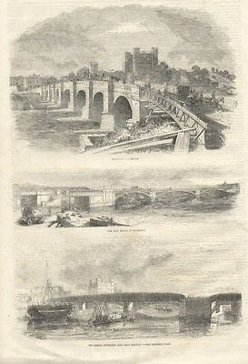 1856 Antique Print VIEWS ROCHESTER East KENT Railway Bridges VICTORIAN ENGRAVING