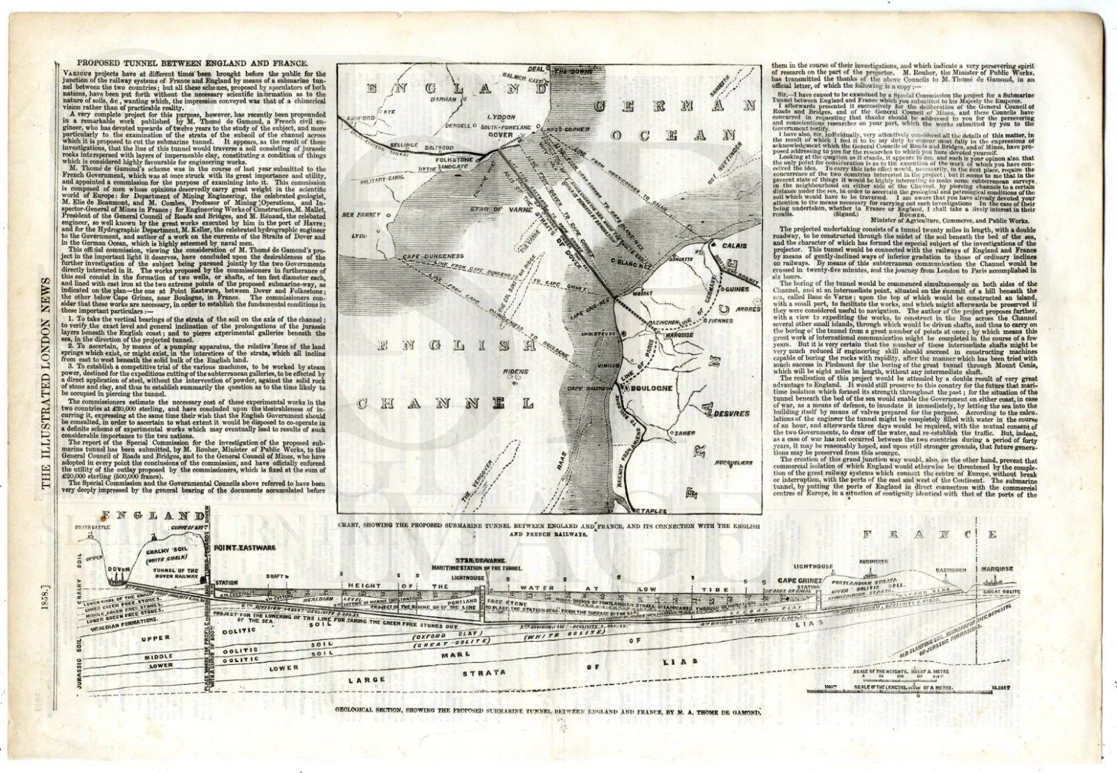 Map Of England France.1858 Map Chart Channel Tunnel Mining England France Railway De