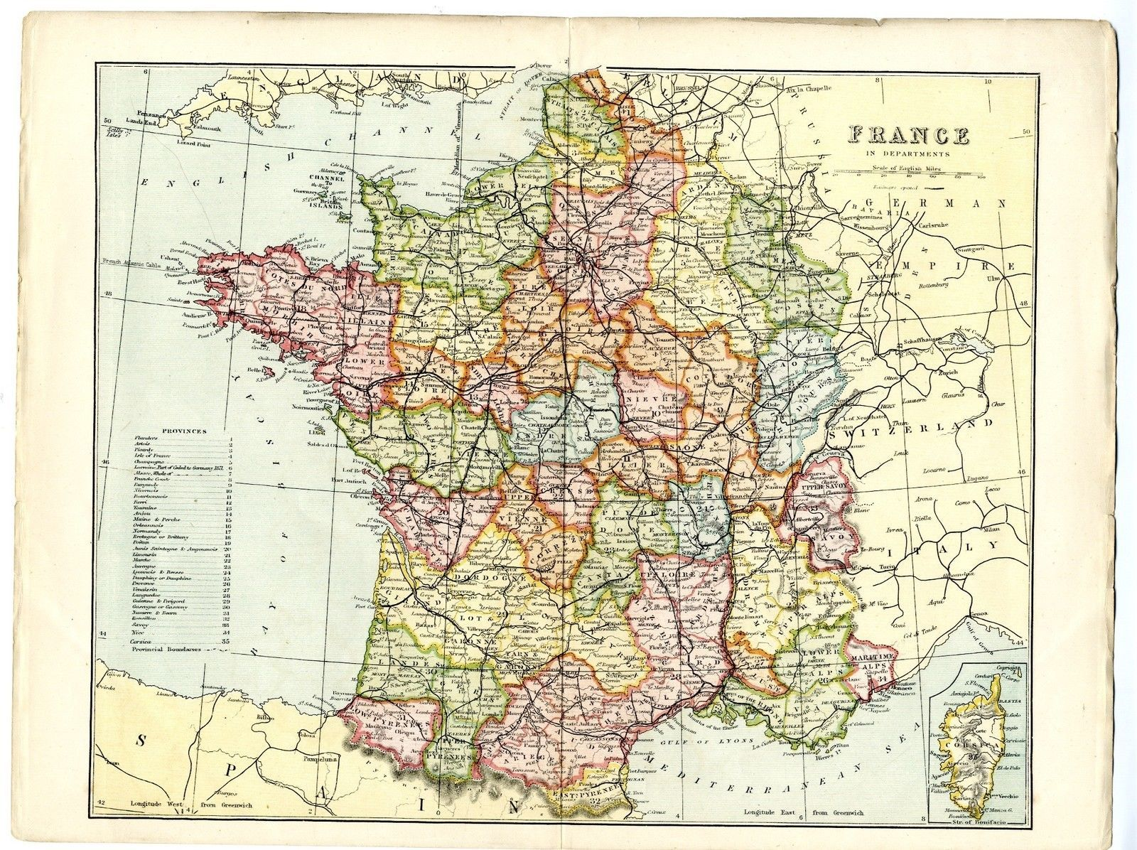 Map Of France And Corsica.1868 Antique Map France Corsica Provinces Departments Victorian Francais