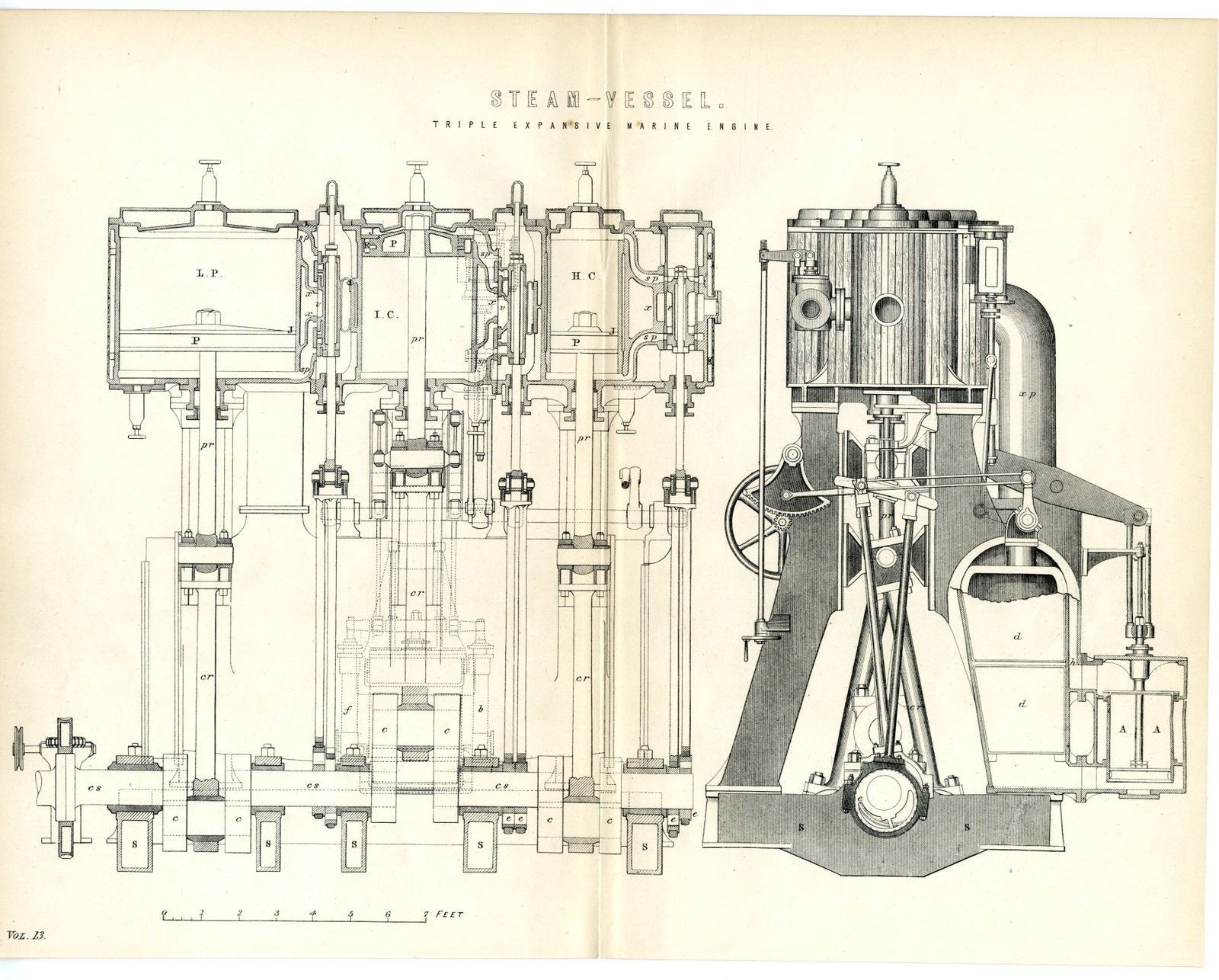 1880 Antique Print Marine Steam Vessel Engine Diagram With