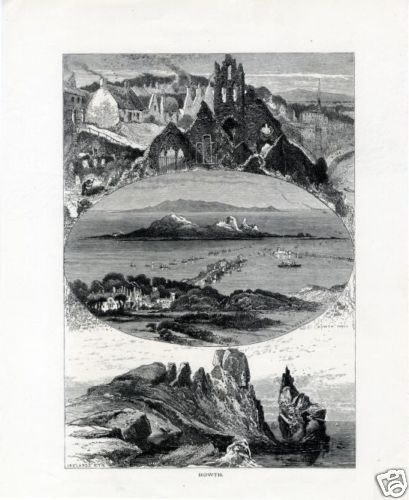 1880 c HOWTH Abbey, Ireland's eye, Castle & harbour