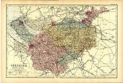 1891  Antique Map CHESHIRE COUNTY Stockport CHESTER Wirral HYDE Birkenhead KNUTSFORD