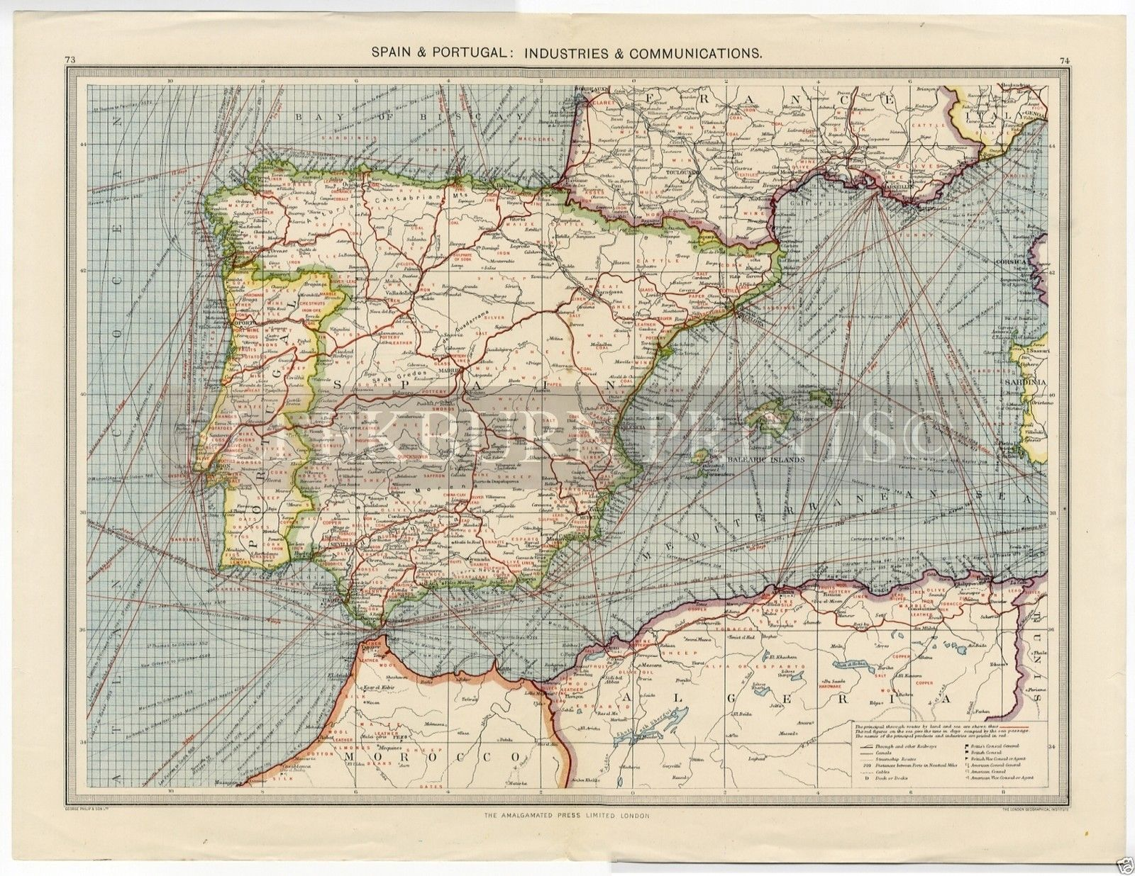 Map Of Portugal Spain.1905 Map Portugal Spain Balearics Sea Routes Industry