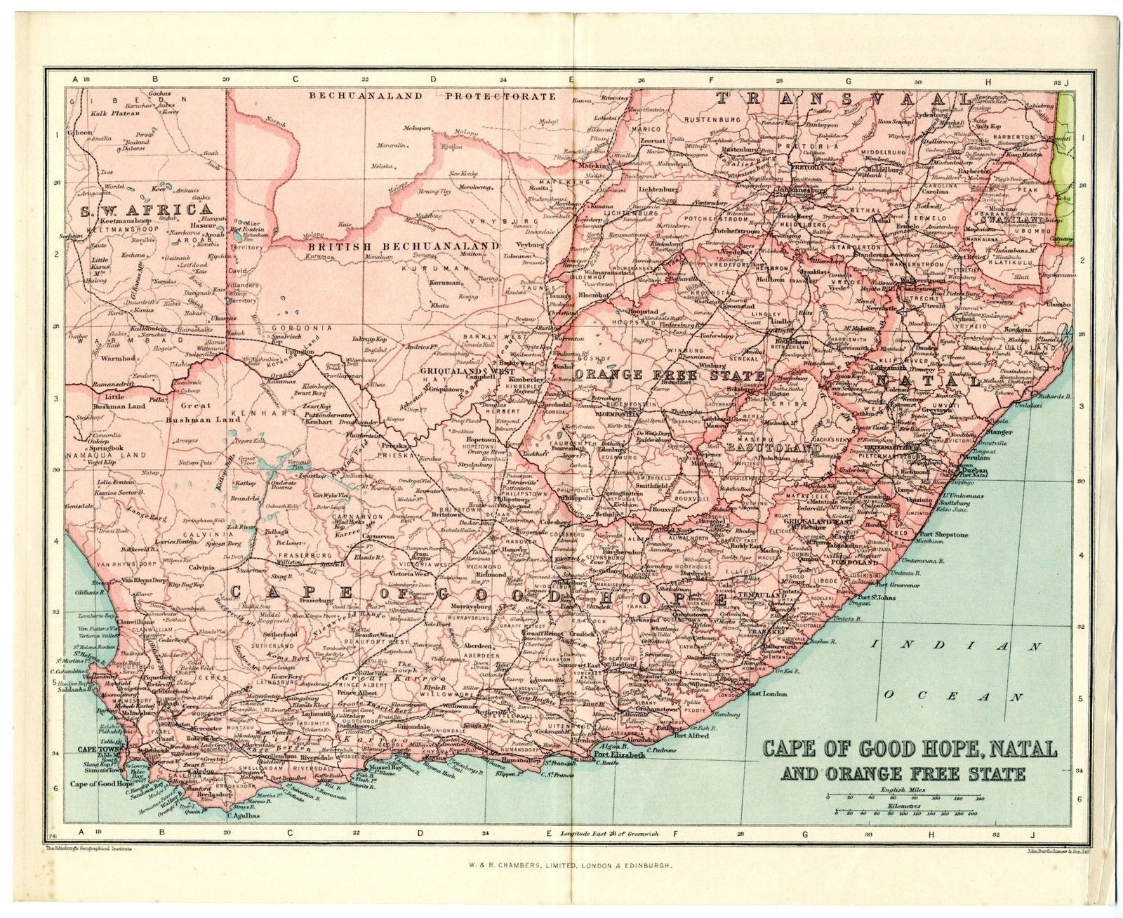 1920 Antique Map South Africa Orange Free State Cape Of