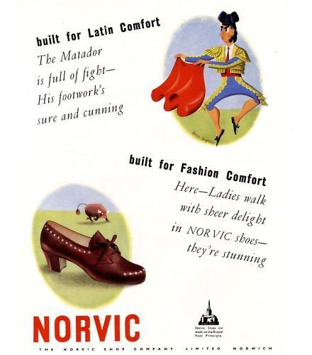 1946 Advert Print NORVIC Shoes Bruce Angrave MATADOR Vintage Advertising