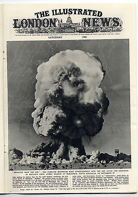 1956 ILLUSTRATED LONDON NEWS Newspaper MARALINGA ATOMIC Cyprus JORDAN ISRAEL Newspaper (2216)