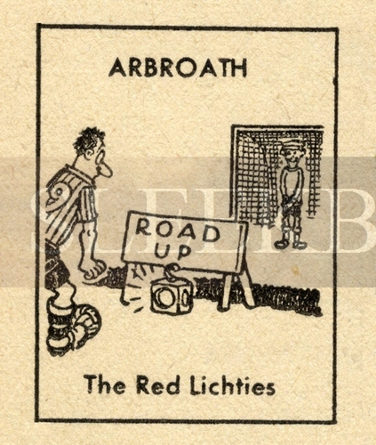 VINTAGE Football Print ARBROATH - THE RED LICHTIES Funny Cartoon